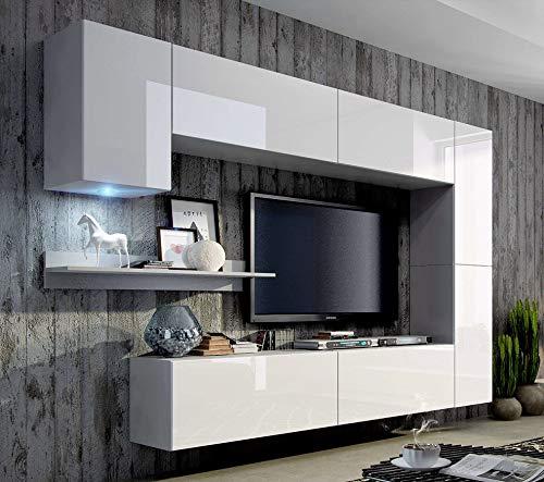 FUTURE 6 Moderne Wohnwand, Exklusive Mediamöbel, TV-Schrank, Neue Garnitur, Große Farbauswahl (RGB LED-Beleuchtung Verfügbar) (Weiß MAT base / Weiß HG front, Blau LED) - 5