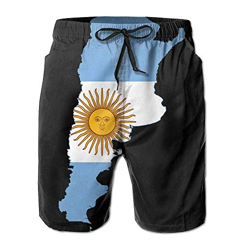 Jiger Flag Map of Argentina Mens Quick Dry Swim Trunks Athletic Beach Board Shorts Pants