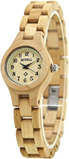 Bewell 123A Small Wrist Dress Wooden Watch for Women, Beige Ladies Analog Quartz Casual Watches