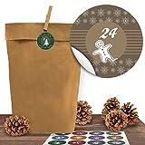 Adventino Adventskalender 24 Kraftpapiertüten mit 24 weihnachtlichen Aufklebern Bunte Weihnachten...