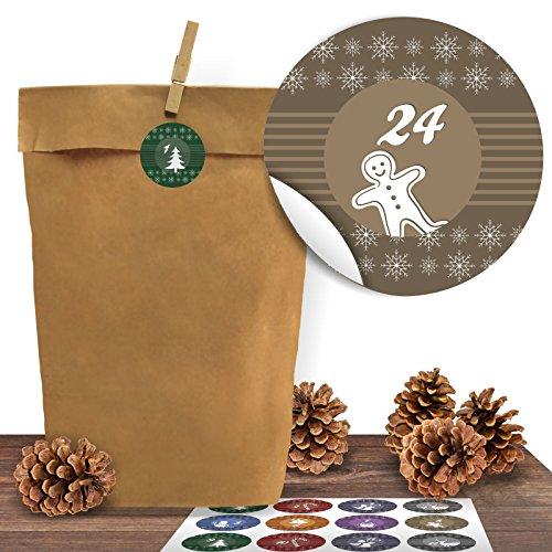 Adventino Adventskalender 24 Kraftpapiertüten mit 24 weihnachtlichen Aufklebern Bunte Weihnachten zum Verschließen als Weihnachts-Geschenktüte zum Basteln und Befüllen