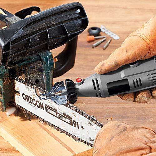 Yuzha 5-delige set kettingzaag bevestigingsset voor rotatie-instructies Power Drill Adapter handkettingzaag gereedschap slijpen accessoires zilver.