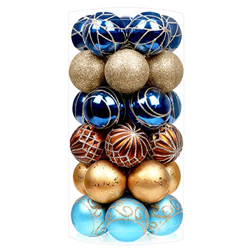 SHareconn 30ct 2.36 Inch Christmas Balls Ornaments for Christmas Tree, Shatterproof Colored Decoration Baubles for Holiday Party, Tree Ornaments Hooks Included (60mm,Blue & Gold)