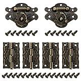 QWORK 2 Piezas Bronce vintage Cerradura , Cerradura de Joyero Decorativo de Armario de Muebles con 4 bisagras y 28 tornillos