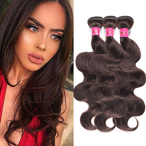 FASHION LADY Brazilian Hair Wefts 3 Bundles Body Wave Weave Dark Brown Virgin Remy Human Hair Extension Deals 100g/Bundle (14 16 18Inch,Dark Brown Color)