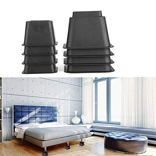 8pcs schwarz Möbelfuß Möbelerhöhung Betterhöhung für Schrankbett Schreibtischstuhl usw, Optionale Erhöhung 6.6/15/21.8cm