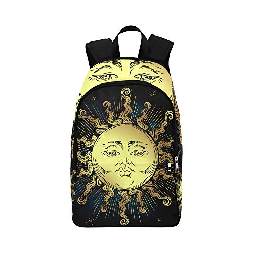 Boho Golden Sun Stars Astrology Magic Symbol Pattern Casual Daypack Travel Bag College School Backpack for Mens and Women