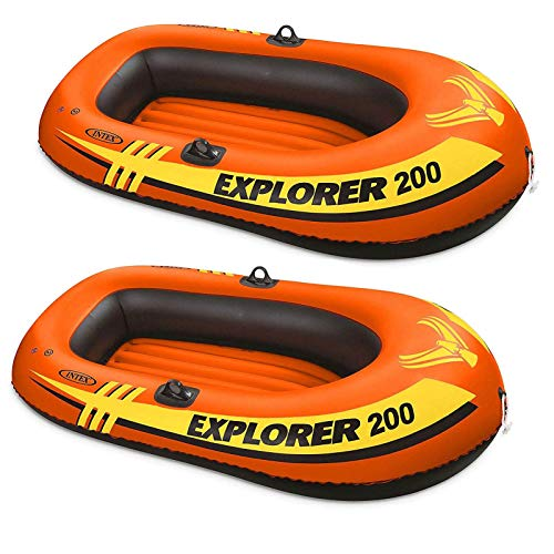 Intex Explorer 200 2 Person Youth U.S. Coast Guard Certified Inflatable PVC Raft for Fishing & Rafting (2 Pack)