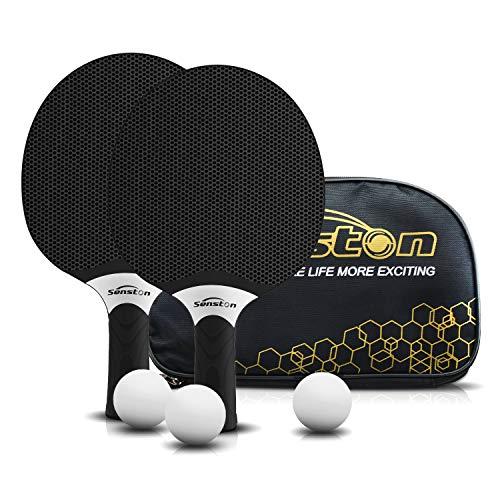 Juego de Raquetas de Tenis de Mesa Senston, Bates de Tenis de Mesa Profesionales con 3 Pelotas, Juego de Palas de Ping Pong de Goma compuesta