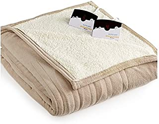 Pure Warmth by Biddeford MicroPlush Sherpa Electric Heated Blanket King Taupe