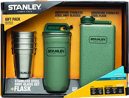 Stanley Adventure Edelstahl Shots + 227ml Fläschchen Geschenk Set Hammertone grün
