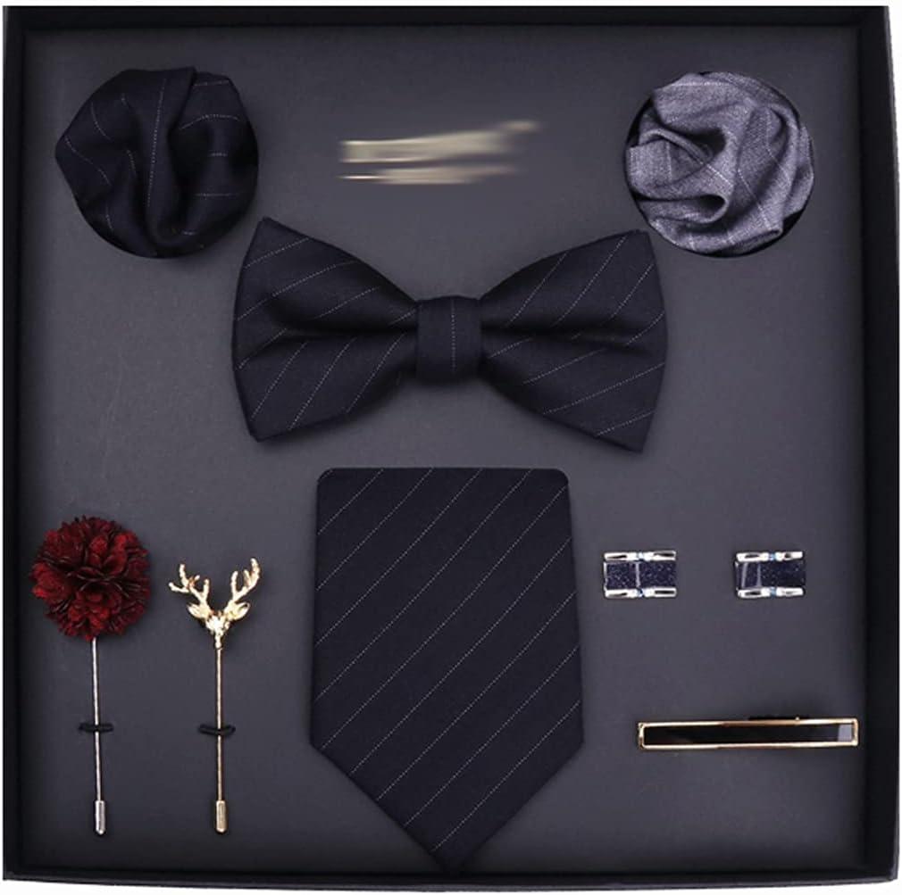 NSXKB Tie Set for Men 8cm Necktie Pocket Square Silk Tie Handkerchief Cufflinks Tie Clip&Brooch Set (Color : A)