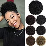 Afro Puff Drawstring Ponytail Hair Bun Extension Hair pieces for Black Women Synthetic Updo Short Kinky Curly Hair Ponytail 1B Natural Black