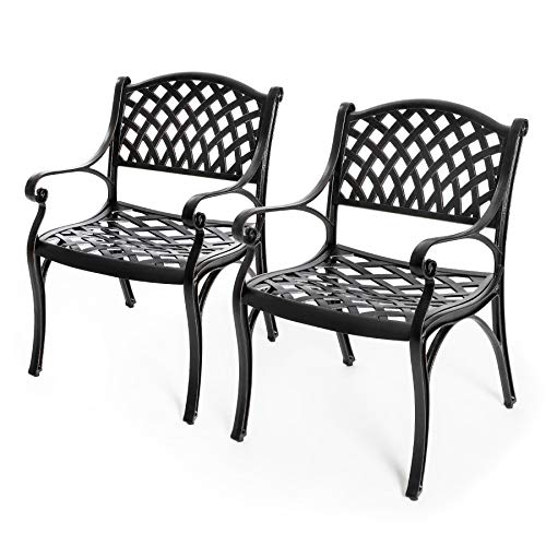 Nuu Garden Outdoor Dining Chairs Set 2, 2 Piece Bistro Chairs, Aluminum Patio Furniture – Cast Aluminum, Bronze