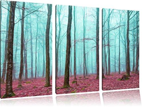 Pixxprint Wald / 3-Teilig/Gesamtmaß 120cm Leinwandbild bespannt auf Holzrahmen/Wandbild Kunstdruck Dekoration