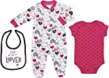 Mini B. by Baby Starters 3-Piece Layette Set with Sleep and Play, Bodysuit and Cloth Bib (Pink and Black/Little Love Heart, 3-6M)