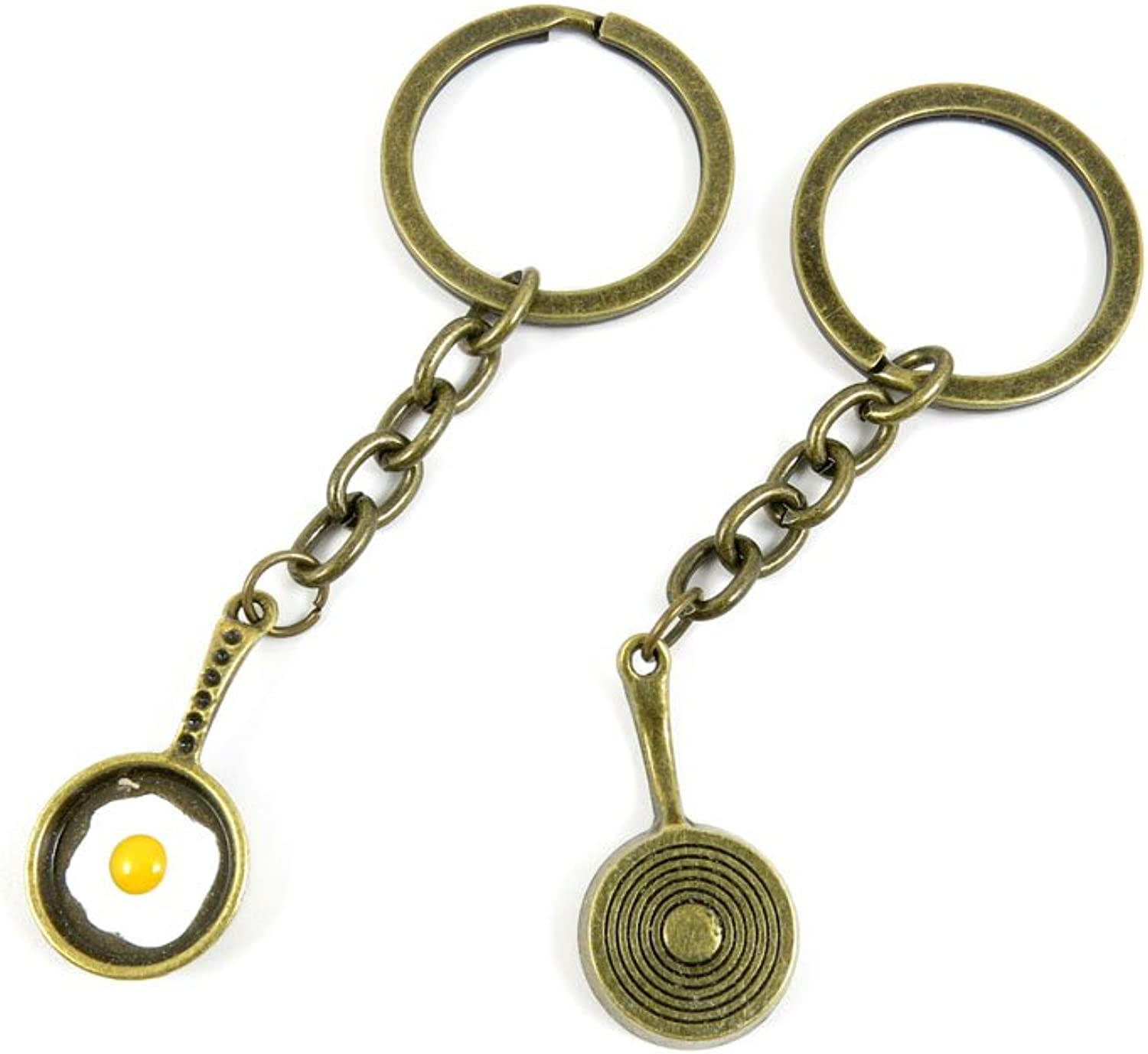 100 PCS Keyrings Keychains Key Ring Chains Tags Jewelry Findings Clasps Buckles Supplies P5BN1 Omelette Pan