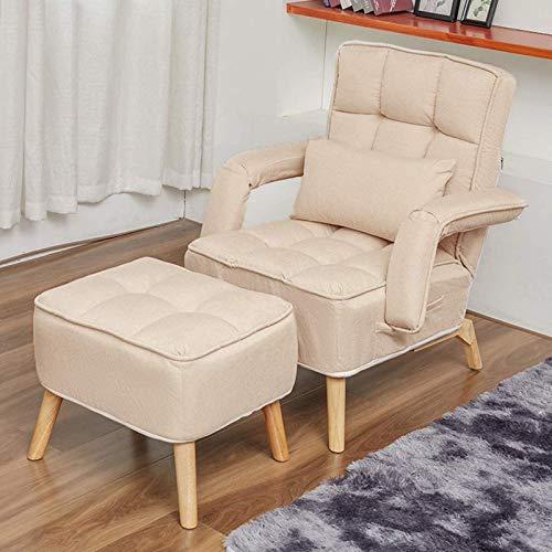 Sofá Individual de Ocio Europeo, sofá Cama Convertible Plegable con Taburete y Almohada, 5 Modo de Ajuste del Respaldo, Creatividad sillón reclinable Silla salón,Blanco