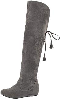 بوت طويل من الجلد المدبوغ للنساء، أحذية بكعب عريض وأحذية مسطحة سادة للسيدات، بوت ثلج دافئ يغلق برباط من الخلف