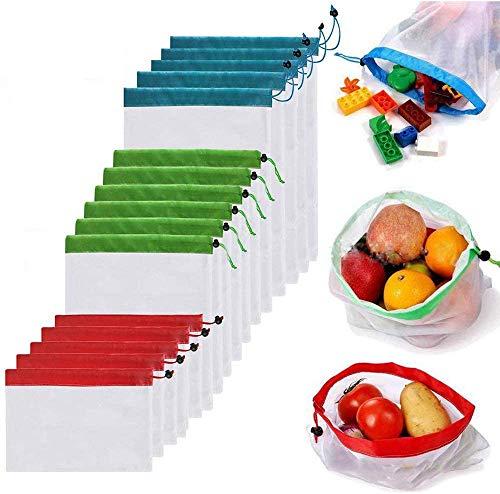 LETTURE Bolsas Reutilizables Compra, 16 Unidades Ecológicas Bolsa de Malla, para Almacenamiento Frutas/Verduras, Juguetes, Lavable y Protección del Medio Ambiente, 3 Diversos...