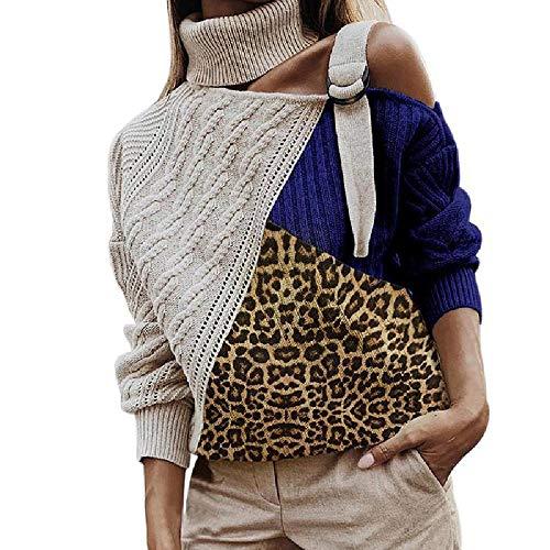 U/A Hoher Kragen Patchwork Leopard Print Schulterfrei Pullover Pullover T-Shirt Cross Border Damen Kleidung Gr. L, blau