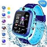 MUXAN Reloj para niños Smartwatch Reloj de Pulsera Inteligente Resistente al Agua IP67 con SOS Reloj Despertador Reloj Digital Cámara Antorcha Juegos para niños compatibles con iOS/Android (Azul)