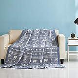 Qucover Tagesdecke für Sommer Wendedecke aus Baumwolle weiche Wohndecke Kuscheldecke Bettüberwurf für Doppelbett 200 x 220 cm mit Elefant Muster Grau