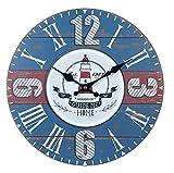 Reloj de Pared Decorativo de Madera Multicolor Marinero a Elegir. Adornos. Decoración Hogar. Muebles Auxiliares. Menaje . Regalos Originales. 34 x 4 x 34 cm. (Reloj Faro)