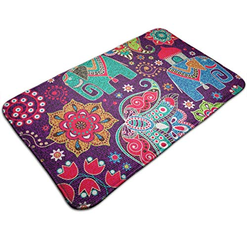 AOOEDM Floral with Decorative Elephants Bath Mat Memory Foam Front Door Mat Bathroom Rugs Carpet for Inside Outdoor 51.2 X 31.5 in 80 X 50 cm