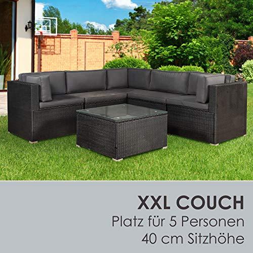 ArtLife Polyrattan Lounge Nassau schwarz | Gartenmöbel Set mit Ecksofa & Tisch | Bezüge in Grau | Sitzgruppe für Terrasse | Loungemöbel Gartenlounge - 3
