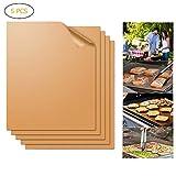 Parrilla Mat Set, 5 piezas de antiadherente Grill Mat Conjunto reutilizable Horno de línea de fibra de vidrio Cocinar las Esteras de asar la carne verduras Mariscos