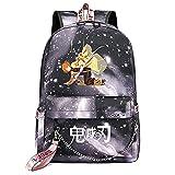 Yumenam Demon Slayer Anime Mochila con Puerto de Carga USB Kimetsu no Yaiba Agatsuma Zenitsu 3D Estampado Mochila Bolsa de Viaje Bolsa Portátil School Bag para Niños y Niñas