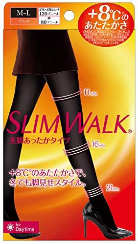 スリムウォーク 美脚あったかタイツ ブラック MLサイズ 着圧タイツ SLIMWALK