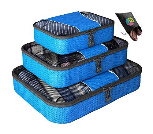 Organizer per valigia UNA SETTIMANA DI SALDI - Set da 4 pezzi - Inclusa borsa riponi-scarpe in omaggio - Garanzia a vita - By Bingonia (Verde)