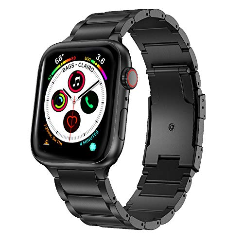 ANBEST Correa Compatible con Apple Watch Correa 40mm Serie 5 Aleación de Titanio de Metal Bandas de Reloj Reemplazo para Apple Watch Series 5/4/3/2/1, Negro 40mm 38mm