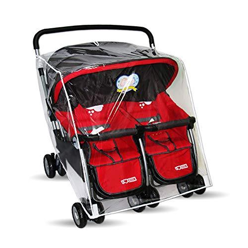 Housse de pluie universelle pour poussette jumelle, imperméable à la chaleur et respirante, coupe-vent imperméable à la chaleur, imperméable transparente pour poussette, convient au double chariot