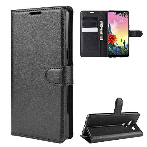 LAGUI Passend für LG K50S Hülle, Reif & Stabil Brieftasche Lederhülle Mit Kartenfächern Fach & Magnetische Verschluss, schwarz