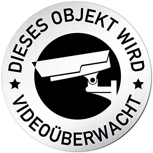 Kinekt3d Leitsysteme Türschild Hinweisschild Dieses Objekt Wird Videoüberwacht – Schild Videoüberwachung Aluminium (eloxiert) Rund 100mm Ø