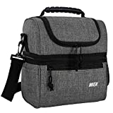 MIER 2 Compartment Lunch Bag for Men Women, Leakproof Insulated Cooler Bag for Work, School, Grey,...