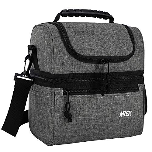 MIER 2 Compartment Lunch Bag for Men Women, Leakproof Insulated Cooler Bag for Work, School, Grey, Medium