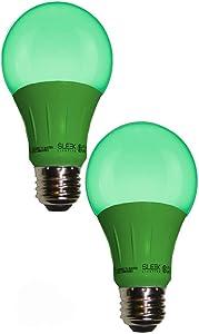 Sleeklighting LED A19 Green Light Bulb, 120 Volt - 3-Watt Energy Saving - Medium Base - UL-Listed LED Bulb - Lasts More Than 20,000 Hours 2pack