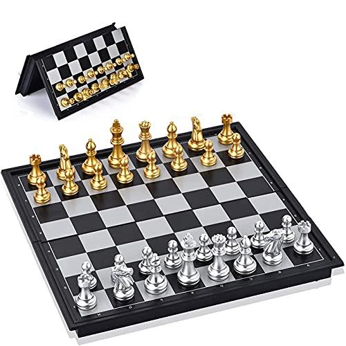 CDBK Ajedrez Magnetico - Tablero Ajedrez Plegable - Piezas de ajedrez Magnetico Oro y Plata - Ajedrez de Viajar para Niños y Adultos - 25 x 25 cm