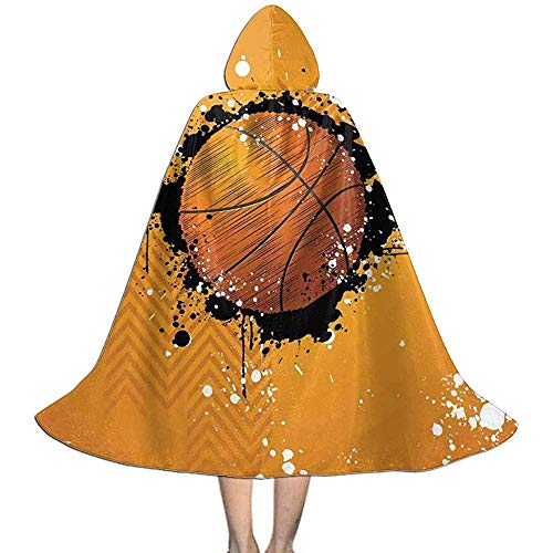 Rexing Hexengewand,Vampir Kleid Umhang,Kap Mit Kapuze,Kinder Umhang Hut, Basketball Paint Splashes Abstrakte Orange Unisex Kapuzen Mantel Mantel Hexe Robe Cape Lange Halloween Cosplay Party Mantel L