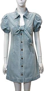 2020 - Vestido de mezclilla francesa, falda, con mangas de burbujas, color azul