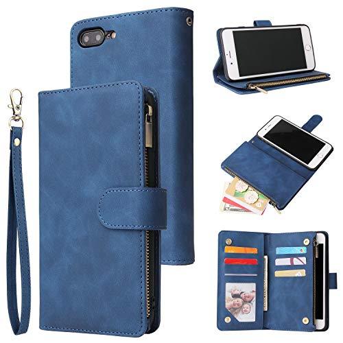 UEEBAI Wallet Case for iPhone 7 Plus iPhone 8 Plus, Premium Vintage PU Leather Magnetic Closure Handbag Zipper Pocket Case Kickstand Card Holder Slots with Wrist Strap TPU Shockproof Flip Cover-Blue