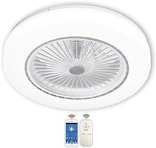 BEHWU Ventilador de Techo Luz con LED Iluminación 45W Moderno Regulable con Control Remoto Lámpara de Techo LED Ventilador Dormitorio Silencioso Comedor Lámpara de Ventilador Ø55 × H18CM