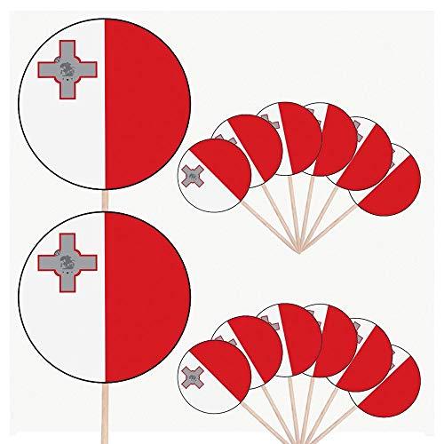 Malta-Flagge, Party-Essen, Kuchen, Cupcakes, Stäbchen, Flaggen, aufstellbare Dekorationen (14 Stück)