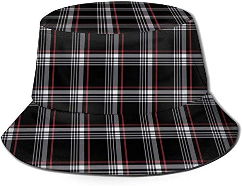 ZharkLI Hut Golf GTI Plaid Sun Fisherman Cap Outdoor Hut UV Sonnenschutz Hut Faltbar Leicht Atmungsaktiv Reise Cap Schwarz