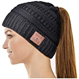 Bluetooth Hat, Gifts for Women Ponytail Bluetooth Beanie Hat, Upgraded Bluetooth 5.0 Winter Music Hat Wireless Headphones with HD Stereo Speakers Built-in Microphone, for Girls.