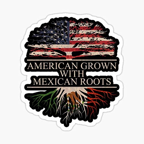 American Grown with Mexican Roots Sticker Black Sticker - Sticker Graphic - Auto, Wall, Laptop, Cell, Truck Sticker for Windows, Cars, Trucks
